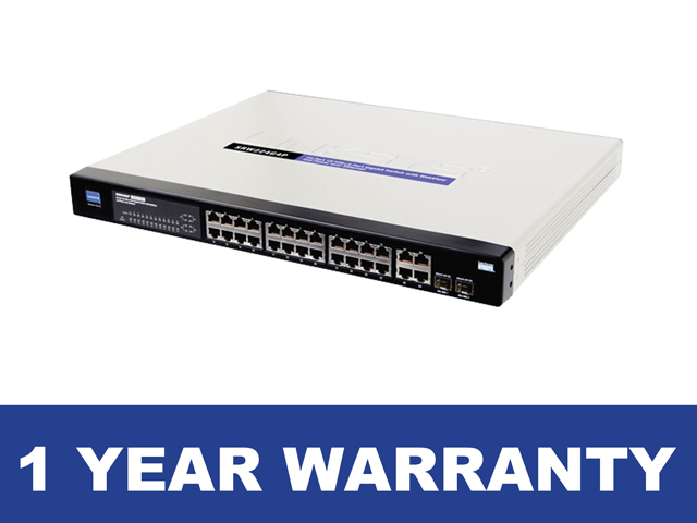 Linksys SRW224G4P Switch 24 Port Managed 10/100 + 4 Gigabit Port PoE Switch